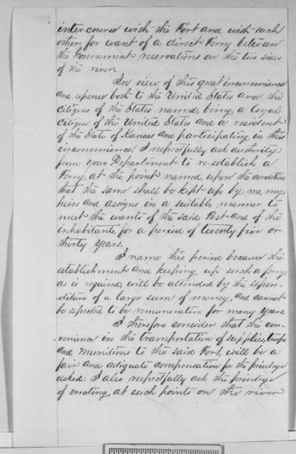 Mark W. Delahay to Abraham Lincoln, Monday, February 20, 1865  (Permission to start ferry)