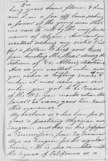 Martha M. Bonham to Abraham Lincoln, Friday, February 03, 1865  (Seeks office for her husband)