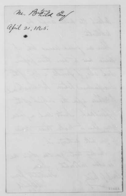 Maunsell B. Field to John G. Nicolay, Friday, April 21, 1865  (Requests return of papers)