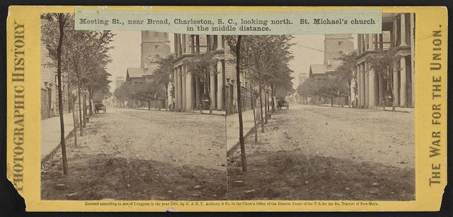 Meeting St., near Broad, Charleston, S.C., looking north. St. Michael's church in the middle distance
