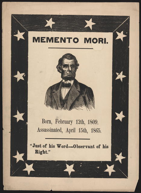 Memento mori. [Portrait of Lincoln within a black border containing 13 stars.]
