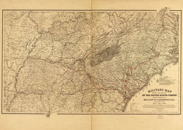 Military map showing the marches of the United States forces under command of Maj. Gen'l W.T. Sherman, during the years 1863, 1864, 1865 /