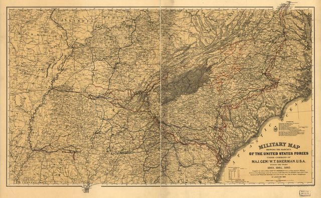Military map showing the marches of the United States forces under command of Maj. Genl. W. T. Sherman, U.S.A., during the years 1863, 1864, 1865.