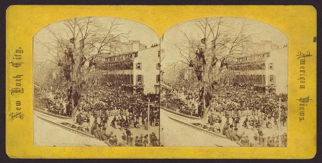 [Military on Broadway during Abraham Lincoln's funeral procession, New York City, N.Y.]