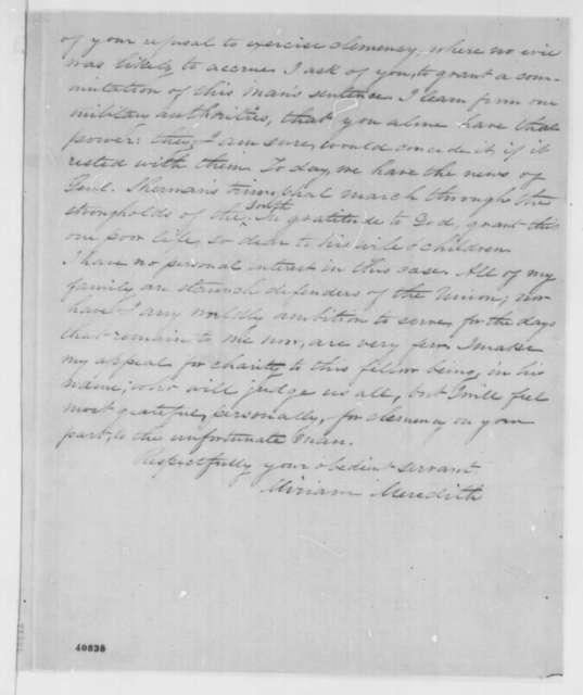 Miriam Meredith to Abraham Lincoln, Sunday, February 19, 1865  (Case of Thomas Thorp)