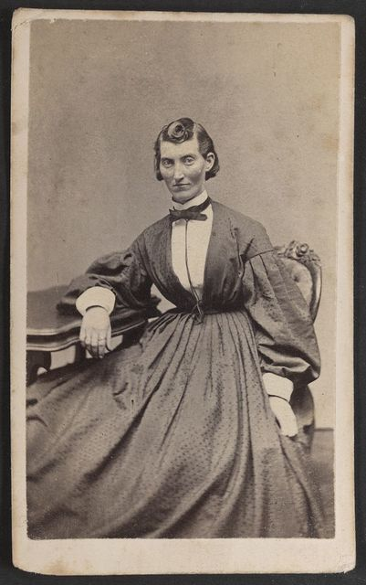 Miss F. L. Clayton, 4th Mis. Arty [i.e. Missouri Artillery], wounded in the battles of Shiloh and Stone River / S. Masury, photographic artist, 289 Washington St., Boston.