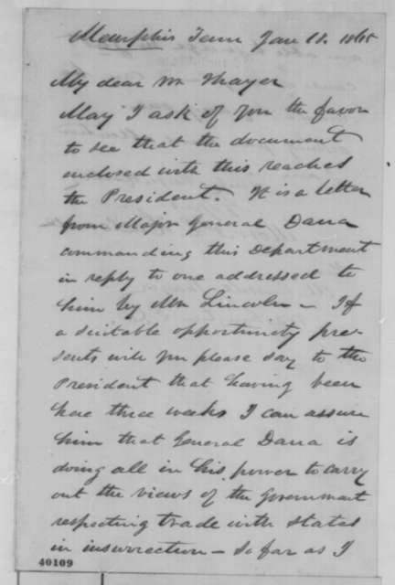 Morris L. Hallowell to M. Russell Thayer, Wednesday, January 18, 1865  (Cover letter)