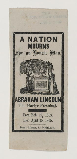 Mourning badges. Four mourning badges worn at the funeral of Abraham Lincoln.
