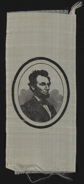 [Mourning ribbon with portrait of Lincoln.]