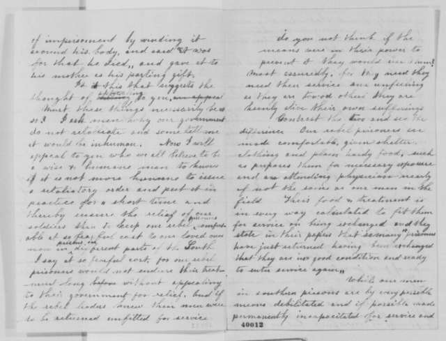 Mrs. A. A. Moor to Abraham Lincoln, Friday, January 13, 1865  (Treatment of Union prisoners of war)