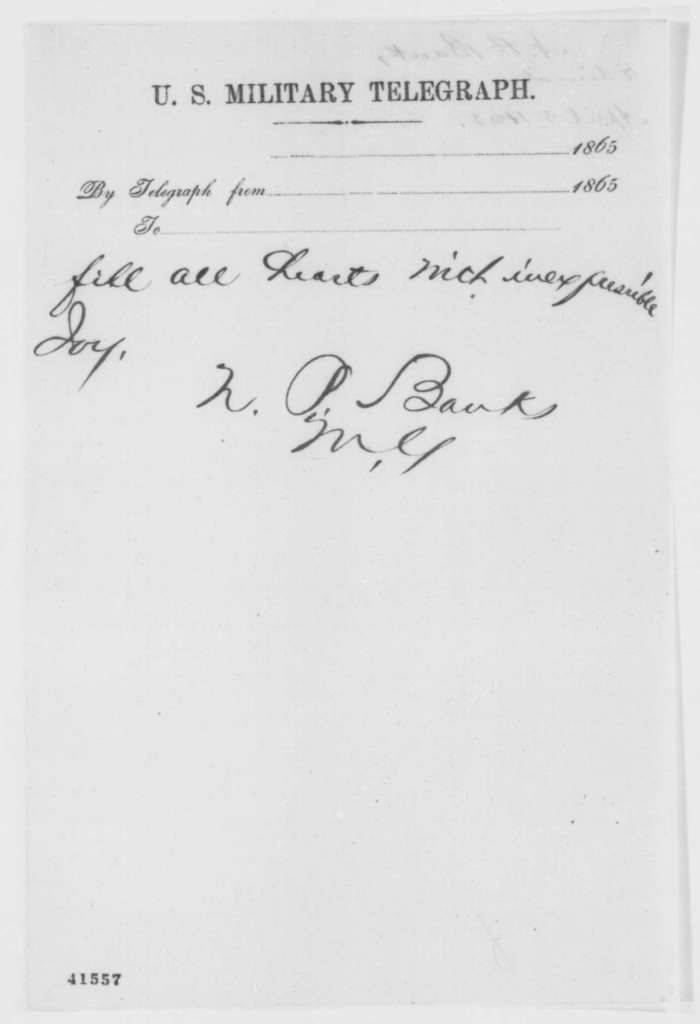 Nathaniel P. Banks to Abraham Lincoln, Wednesday, April 05, 1865  (Telegram requesting instructions)