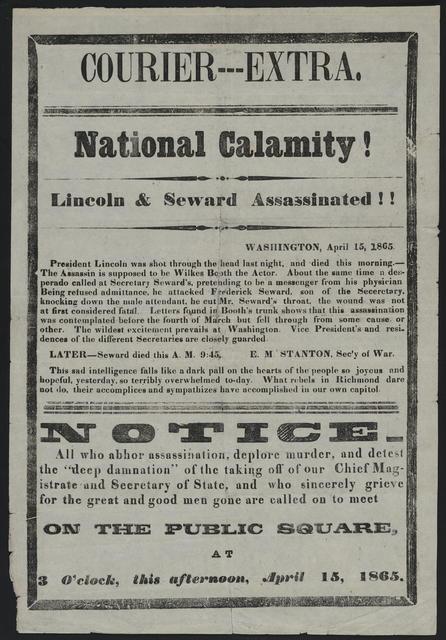 National calamity! Lincoln & Seward assassinated!!