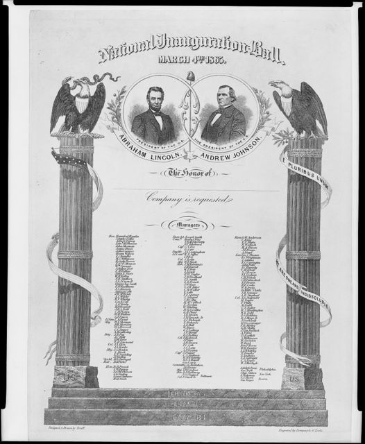 National inauguration ball, March 4th 1865 / designed & drawn by Bruff ; engraved by Dempsey & O'Toole.