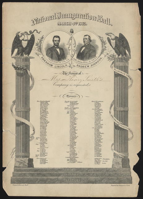 National Inauguration Ball. March 4th, 1865. Invitation.