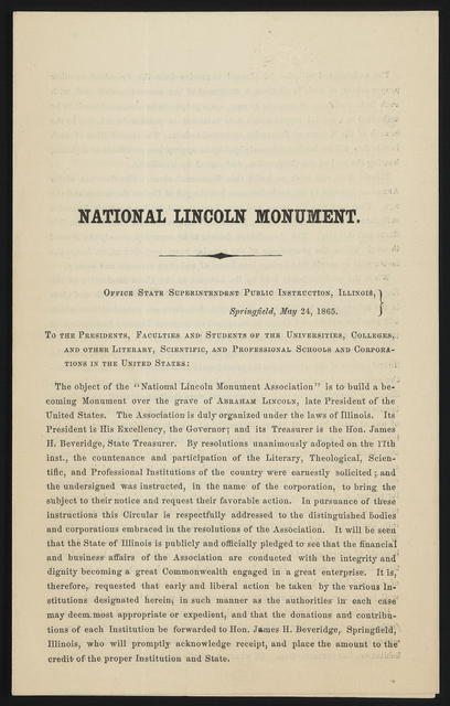National Lincoln Monument. Office state superintendent public instruction, Illinois.