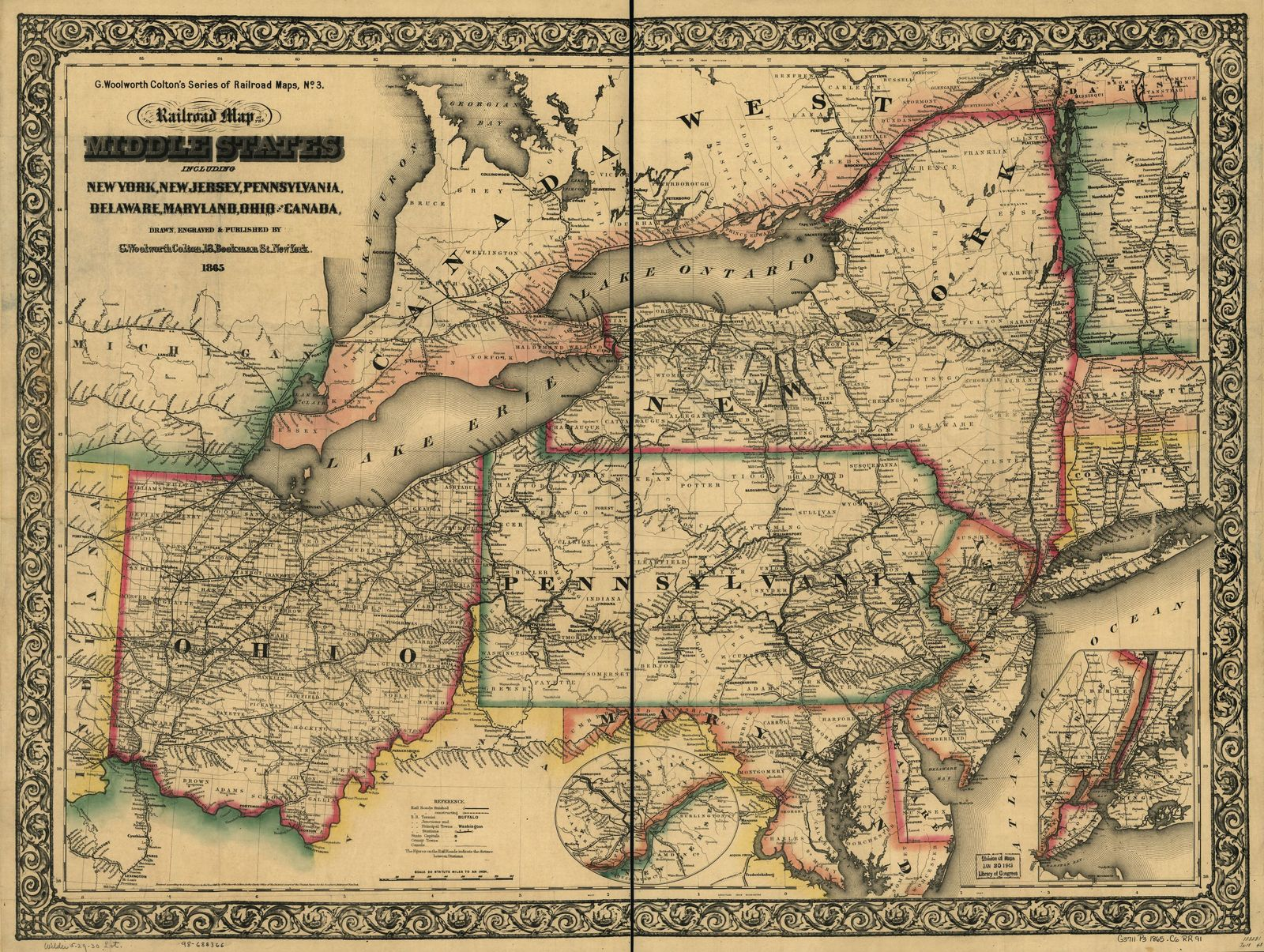 New Railroad Map Of The Middle States Including New York New Jersey