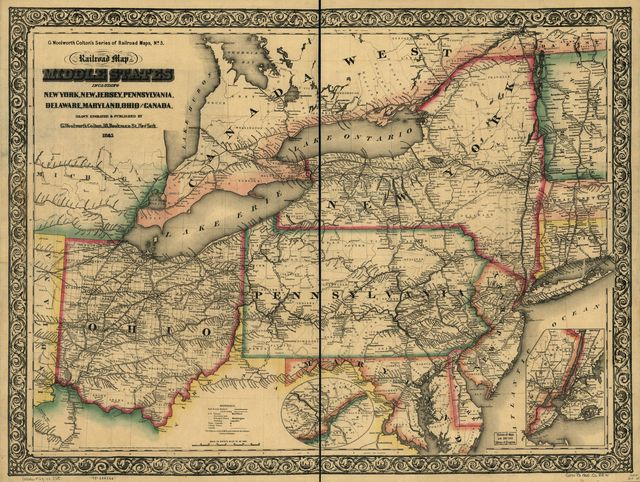New railroad map of the middle states including New York, New Jersey, Pennsylvania, Delaware, Maryland, Ohio and Canada; drawn, engraved & published by G. Woolworth Colton.
