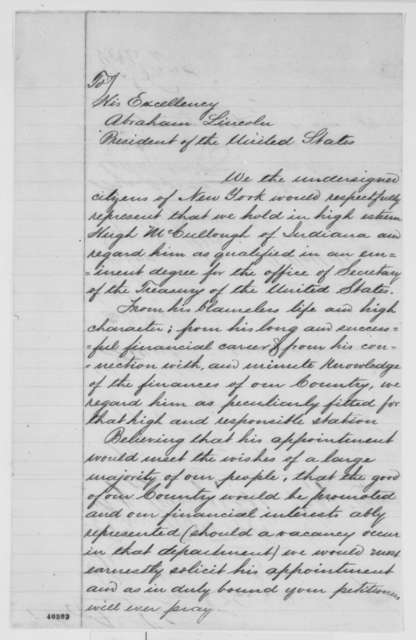 New York Bankers & Businessmen to Abraham Lincoln, [February 1865]  (Petition recommending Hugh McCulloch)
