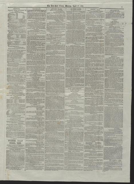 New York Times, [newspaper]. April 17, 1865.