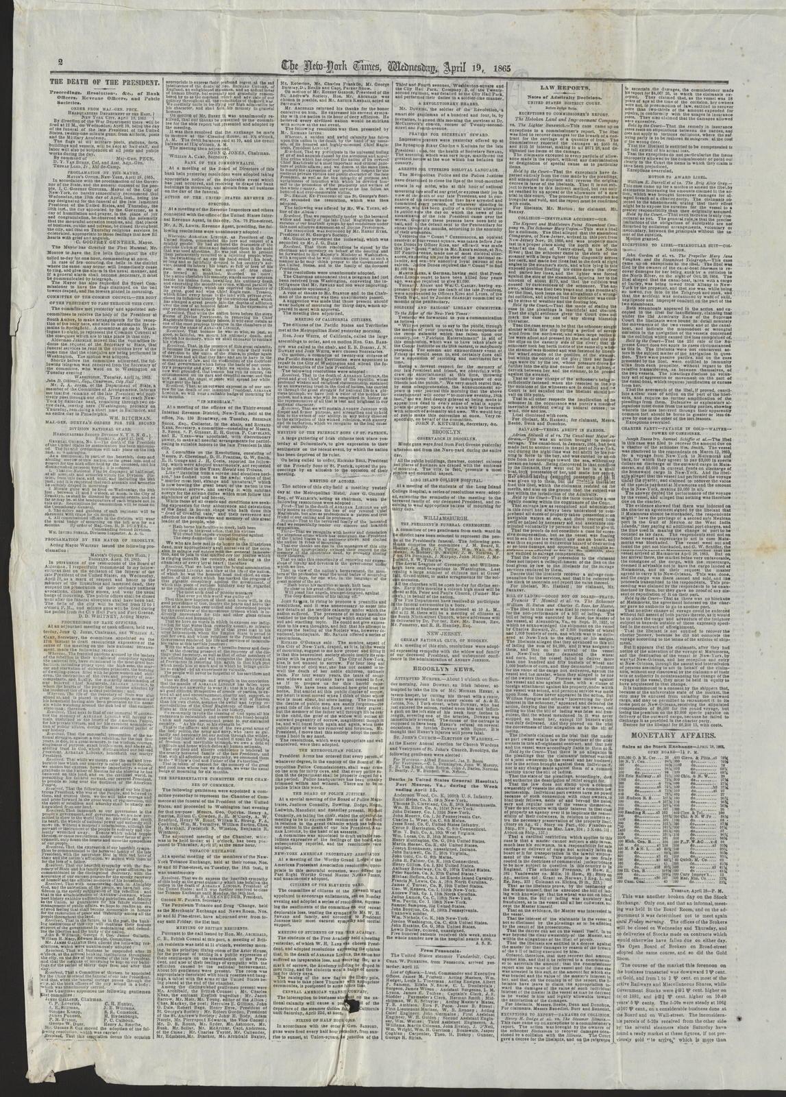 New York Times, [newspaper]. April 19, 1865.