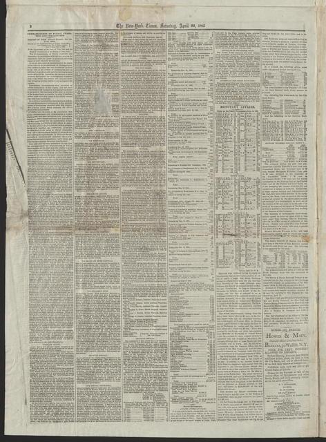 New York Times, [newspaper]. April 22, 1865.
