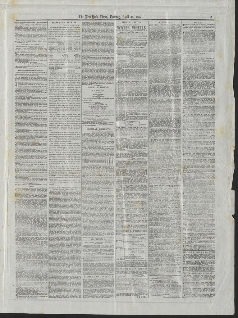 New York Times, [newspaper]. April 25, 1865.