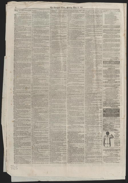 New York Times, [newspaper]. May 15, 1865.