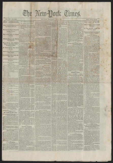 New York Times, [newspaper]. May 4, 1865.