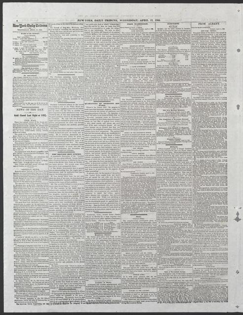 New York Tribune, [newspaper]. April 12, 1865.