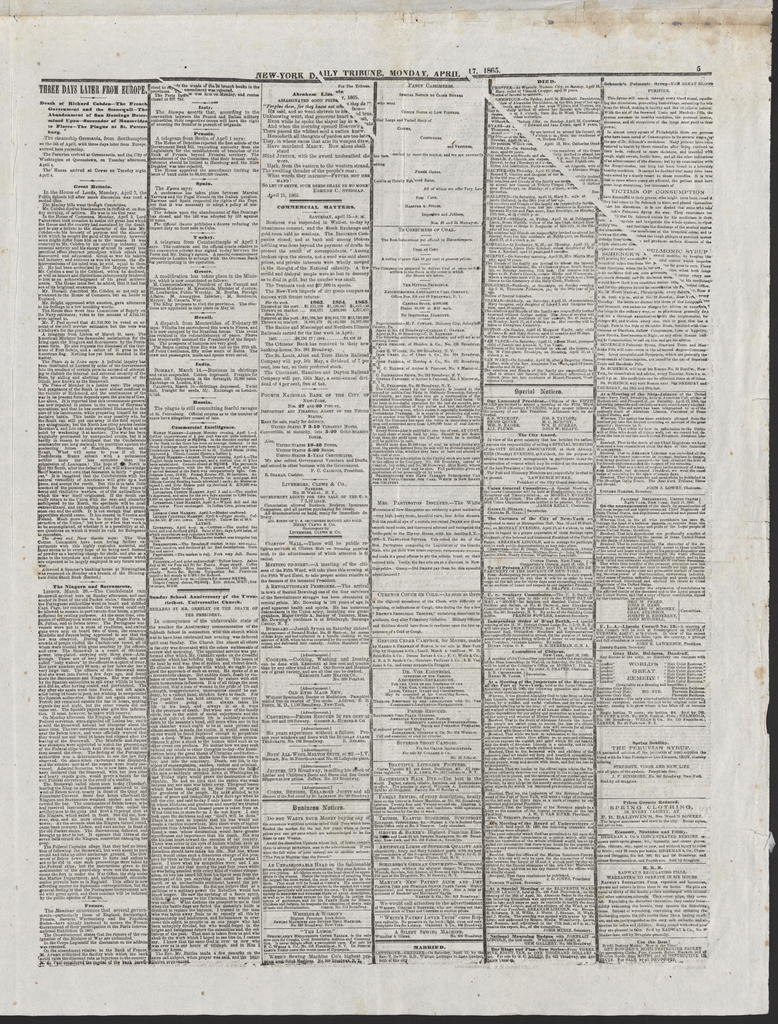 New York Tribune, [newspaper]. April 17, 1865.
