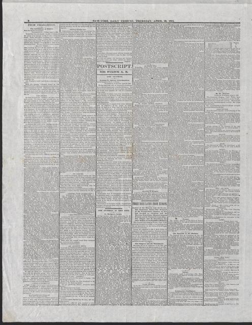 New York Tribune, [newspaper]. April 20, 1865.