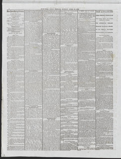 New York Tribune, [newspaper]. April 24, 1865.