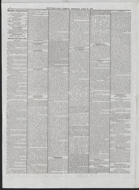 New York Tribune, [newspaper]. April 27, 1865.
