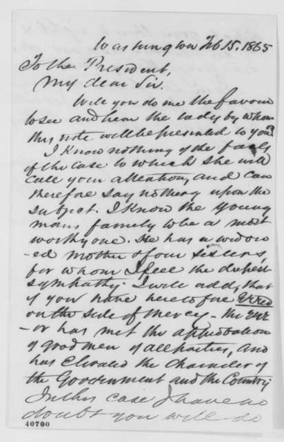 Noah H. Swayne to Abraham Lincoln, Wednesday, February 15, 1865  (Introduction)