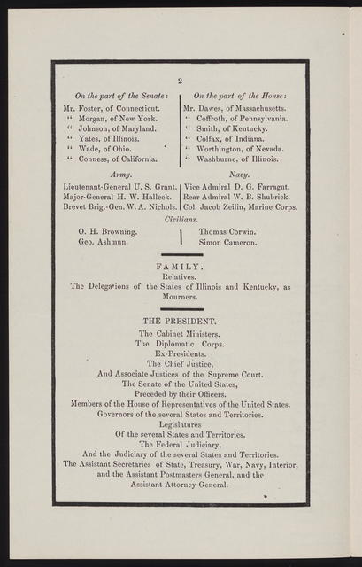 Official arrangements at Washington for the funeral solemnities of the late Abraham Lincoln, President of the United States, who died at the Seat of Government, on Saturday, the 15th day of April, 1865.