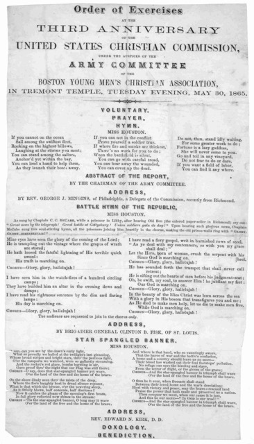 Order of exercises at the third anniversary of the United States Christian commission, under the auspices of the army committee of the Boston Young men's Christian association, in Tremont Temple, Tuesday evening, May 30, 1865 ....