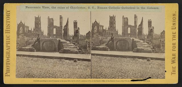 Panoramic view, the ruins of Charleston, S.C., Roman Catholic Cathedral in the distance
