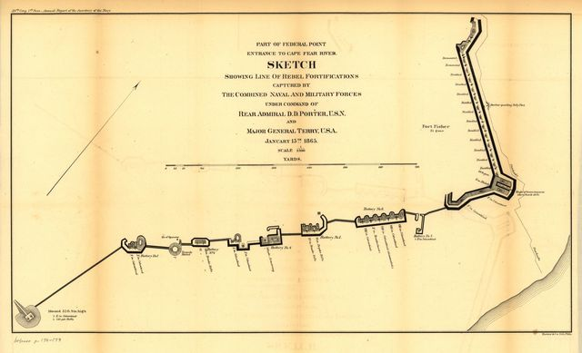 Part of Federal point entrance to Cape Fear River. Sketch showing line of rebel forifications captured by the combined naval and military forces