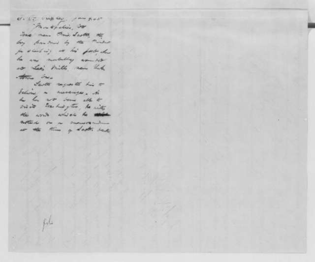 """Paschal P. Ripley to Abraham Lincoln, Monday, January 09, 1865  (Dying words of the """"Sleeping Sentinel"""")"""