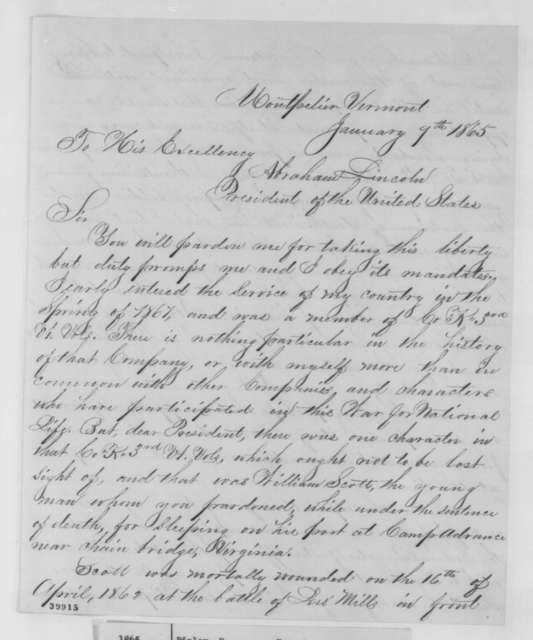"Paschal P. Ripley to Abraham Lincoln, Monday, January 09, 1865  (Dying words of the ""Sleeping Sentinel"")"