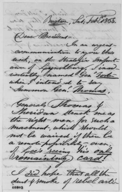 Penn Cobden to Abraham Lincoln, Saturday, February 18, 1865  (Political and military affairs)