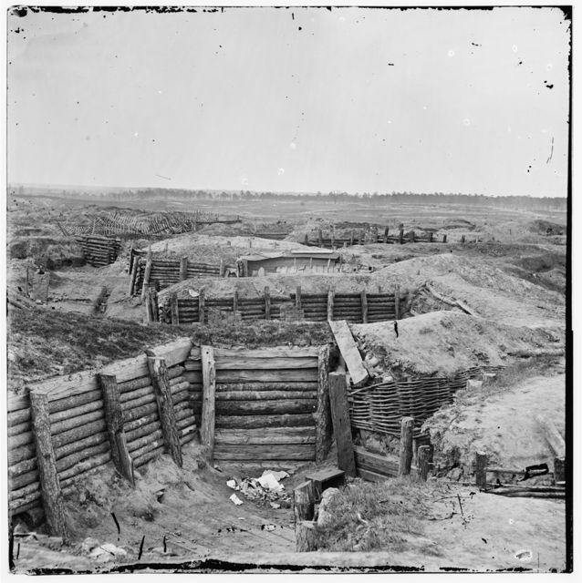 [Petersburg, Va. Confederate fortifications with chevaux-de-frise beyond]