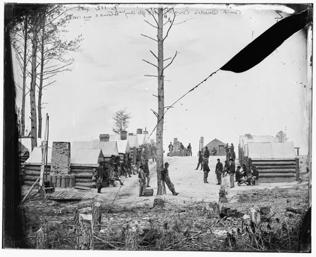 [Petersburg, Va. General view of camp of Oneida, N.Y., Independent Cavalry Company at Army headquarters, with men at leisure]