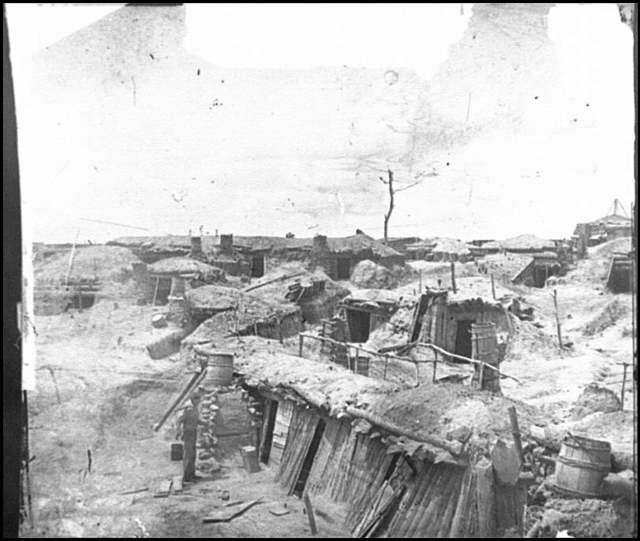 [Petersburg, Va. Interior of Fort Sedgwick, with bomb-proof quarters of garrison]