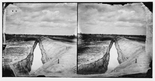 Petersburg, Virginia. Earthworks in front of Petersburg. (The 27 foot ditch at Fort Gilmer, Guard against Federal mines)