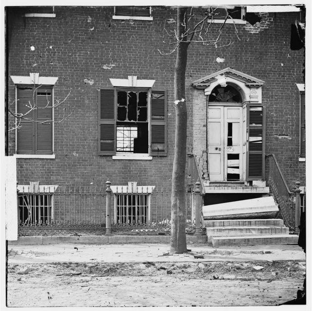 Petersburg, Virginia. Shattered doorway of house on Bolingbroke Street