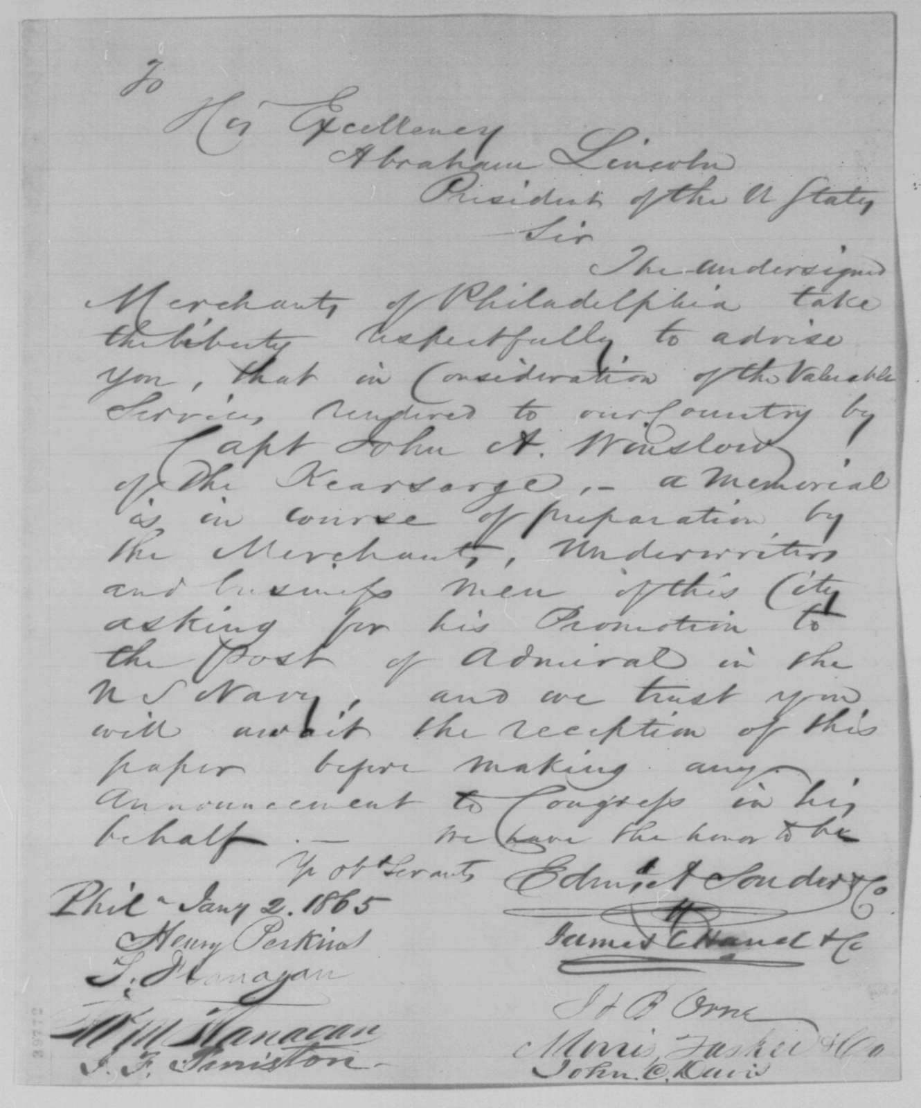 Philadelphia Merchants to Abraham Lincoln, Monday, January 02, 1865  (Petition in support of John A. Winslow)
