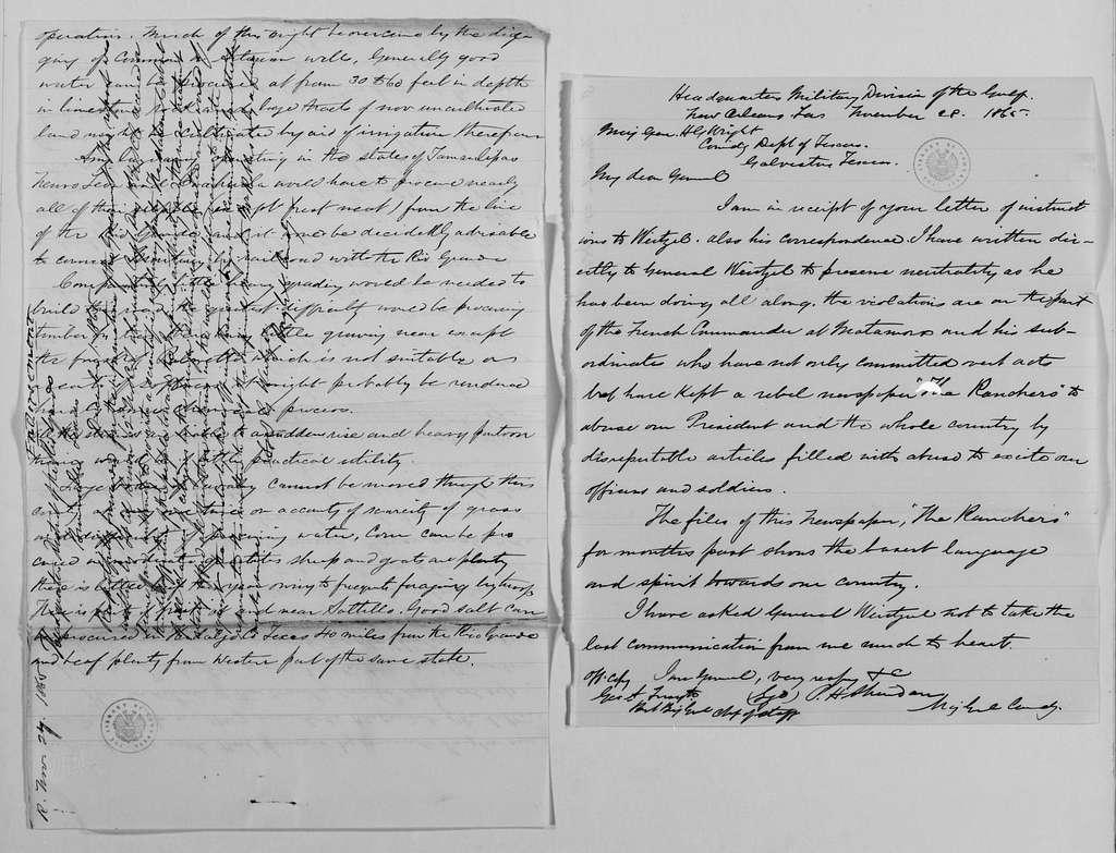 Philip Henry Sheridan Papers: General Correspondence, 1853-1888; 1865; Nov. 15-19