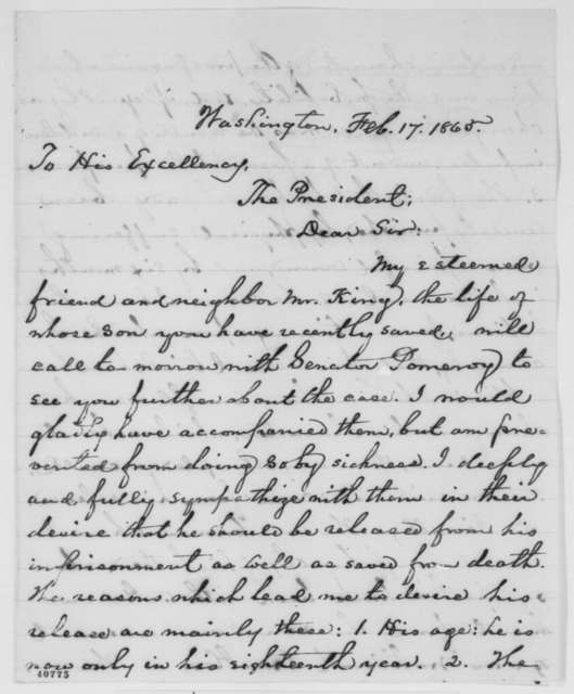 Phineas D. Gurley to Abraham Lincoln, Friday, February 17, 1865  (Case of Norman L. King)