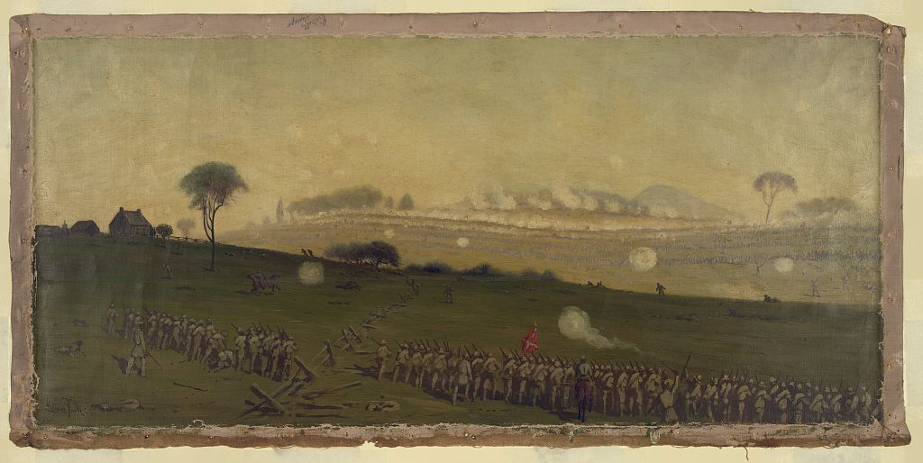 Picketts charge on the Union centre at the grove of trees about 3 PM / Edwin Forbes.